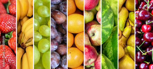 Fotobehang Keuken Fruit collage - Group of various fresh fruits