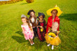 View from top on kids in Halloween costumes