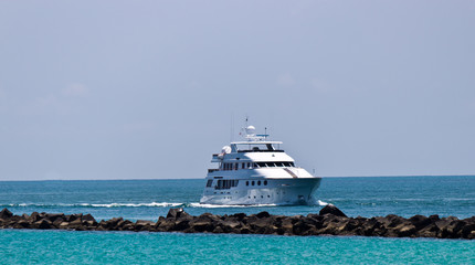 Luxury yatch coming into port