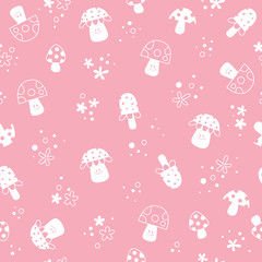 flowers and mushrooms nature pastel kids pattern