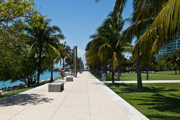 Walking path in the South Point Park in Miami, Florida