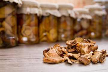 Dried mushrooms and mushroom pickles