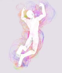 Uomo che salta con aura