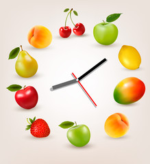 Clock with fruit. Diet time concept. Vector.