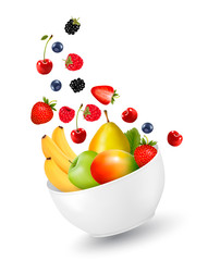 Bowl of healthy fruit. Concept of diet. Vector illustration.