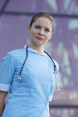 woman in medical clothing