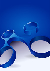 Vector abstract blue background with modern 3d shape