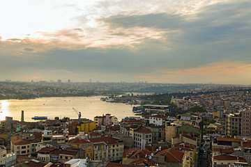 panorama of Golden Horn in Istanbul.