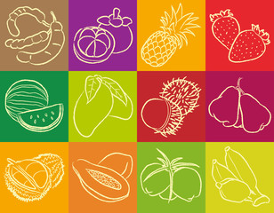 Troppical's Fruits Outline Vector