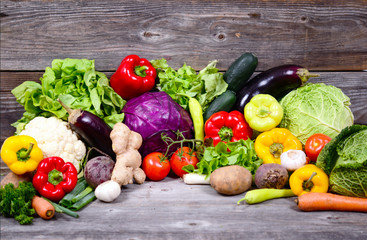 Huge group of fresh vegetables on wooden  table - Hight quality