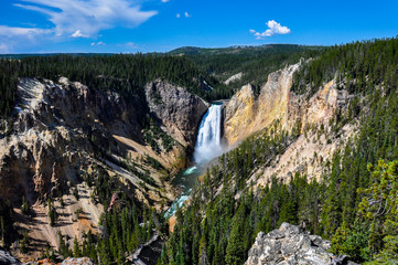 Falls in One of the many scenery of Yellowstone National Park, W