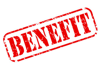 Benefit red stamp text