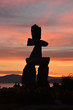 Inukshuk formation at English Beach, Vancouver