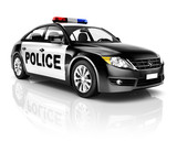 Contemporary Police Car Isolated on White