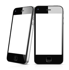 3D Illustration Black Mobile Phones