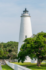 The Ocracoke Lighthouse and Keeper's Dwelling on Ocracoke Island