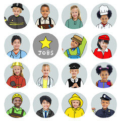 Group of Children with Various Jobs Concepts