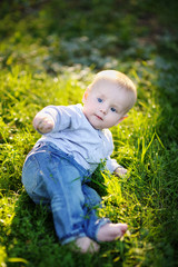 Baby at the sunny park