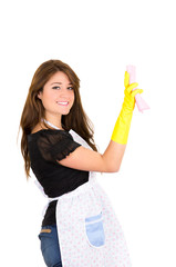Pretty young brunette girl cleaning