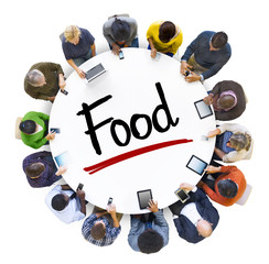 Multiethnic Group of Business People with Food Concept