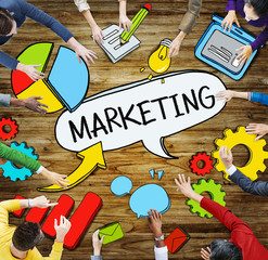 Aerial View of People and Marketing Concepts