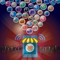 Online shopping eshop. Social media payments.