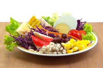 Salad plate on wood table
