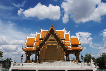 Traditional Thai pavilion under the blue sky