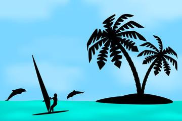 An island with a palm tree.