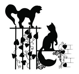 The silhouettes of the cats
