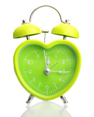 Green alarm clock heart shape