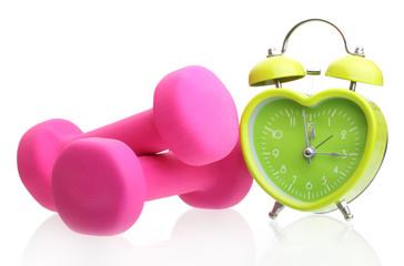 Green alarm clock heart shape