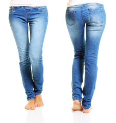 Slim woman body in blue jeans