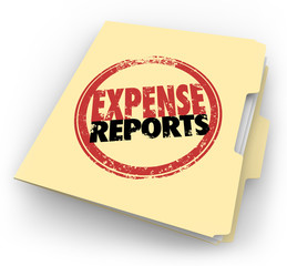 Expense Report Stamp Manila Folder Receipts Documents