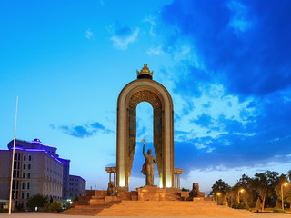 Ismoil Somoni Monument. Time Lapse. Dushanbe, Tajikistan