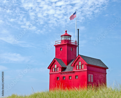 Foto op Aluminium Vuurtoren / Mill red Michigan lighthouse