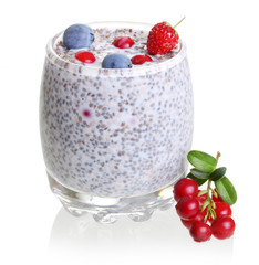 Chia seed pudding and forest berries