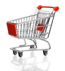 Empty shopping cart isolated