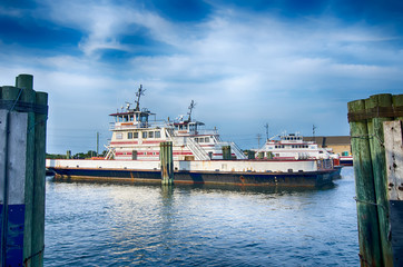 Hatteras, NC, USA - August 8, 2014 :  ferry transport boat at ca