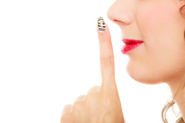 profile part of face woman with silence sign gesture isolated