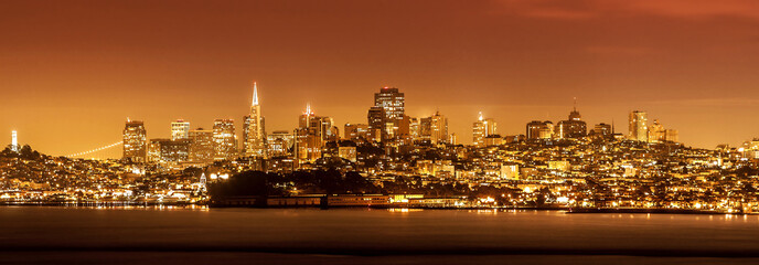 San Francisco skyline at night, USA.