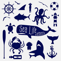 sea life element,icon set