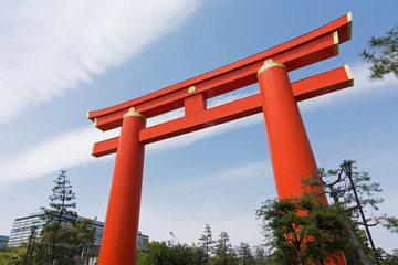 Red otorii of Heian Jingu Shrine in Kyoto Japan.