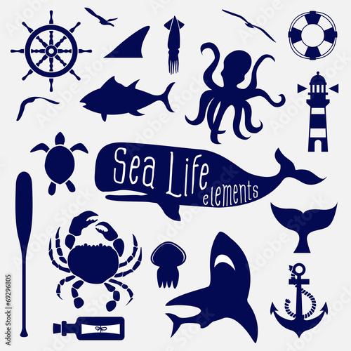 sea life element,icon set - 69296805