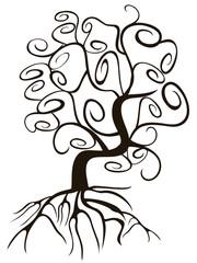 doodle style swirl tree