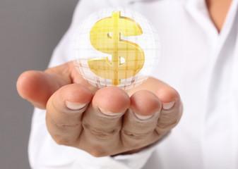Man hand holding Golden dollar