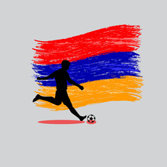 Soccer Player action with Republic of Armenia  flag on backgroun