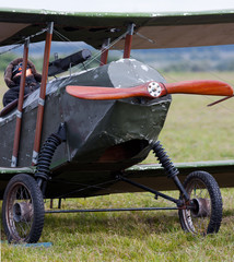 old biplane on the ground