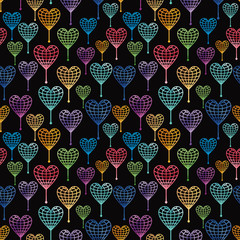Seamless pattern with globe hearts