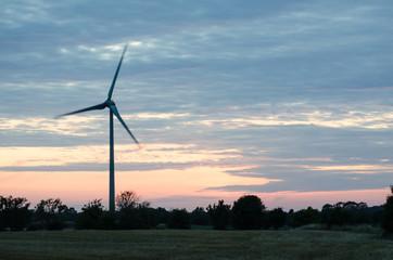 Wind turbine at late evening